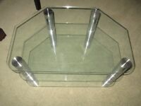 TV stand in glass and chrome
