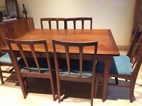 Vintage Retro 60's Teak Extendable Dining Table with 6 chairs