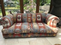 2 seater and 3 seater sofas and footstool