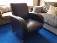 Real Leather Compact Sofa Suite, Tub Chair Armchairs x2 & Small 2 Seater