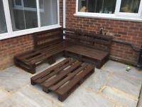Pallet bench, retro garden furniture