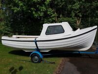 Orkney 16ft fiberglass boat with 8 HP Marina outboard motor