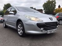 2007 PEUGEOT 307 SE HDI 100 ESTATE ** 11 MONTHS MOT +2 PREVIOUS OWNERS **