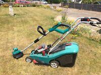 Bosch Rotak 37li cordless mower and 36v cordless Strimmer