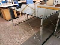 Glass topped office desks