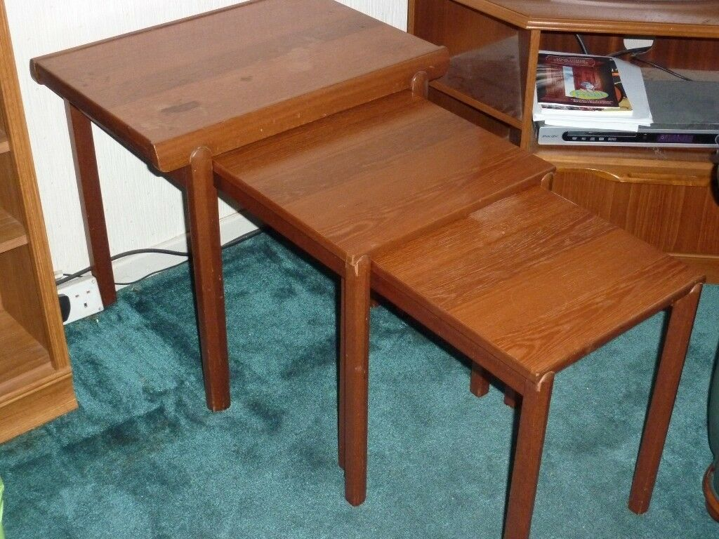 Nest of 3 'McIntosh' solid wood coffee tables in good condition