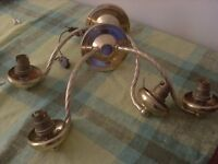 One pair of brass wall lights