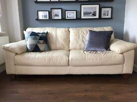 3+2 seater cream premium leather sofa
