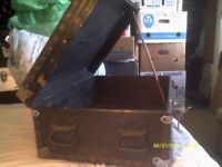 A STURDY TRUNK / CHEST ? 26 by 18 by 10 Inches . METAL BOUND SIDES & CORNERS +++++++