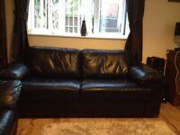 Italian Leather Sofa Three Seater - Black