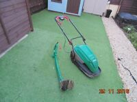 Electric lawn mower and strimmer set