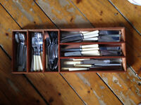 Antique Cutley set complete with wooden storage tray - Sheffield Stainless Steel