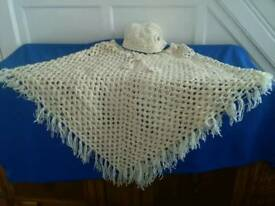 Hand crocheted poncho and hat to fit plus size lady.