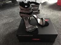 Sassy Black Suede Sandals size 4