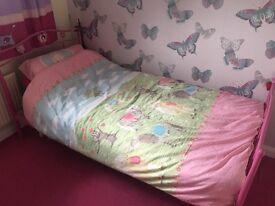 Pink Single Metal Frame Bed with Silentnight Mattress