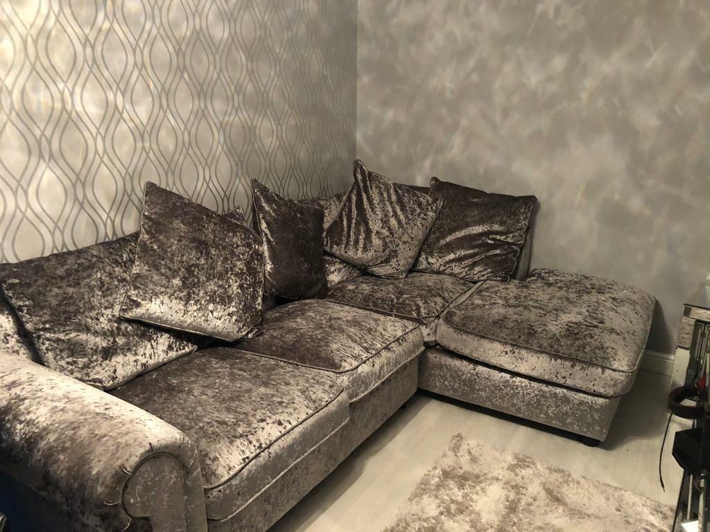 Crushed Velvet Corner Sofa In East End Glasgow Gumtree