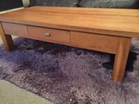 Oak coffee table. Centre drawer for storage.