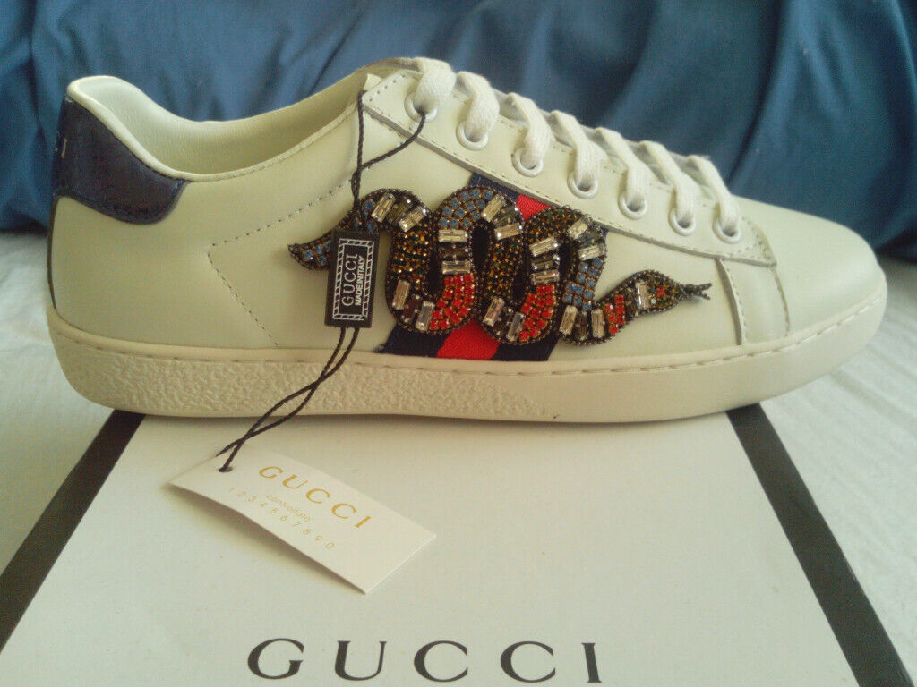 ea10388cb Gucci Embellished Snake Ace Sneakers Trainers Size UK 4, Brand New With Box  RRP £750