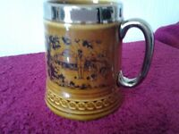 VINTAGE LORD NELSON POTTERY TANKARD DEPICTING BOWLING SCENES-IN EXCELLENT CONDITION-HAND CRAFTED UK