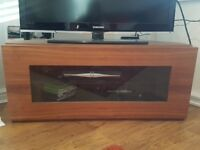 REDUCED TO £10 IF COLLECTED THIS WEEKEND Walnut and glass corner tv unit with shelf