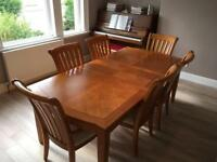 Elm Dining Table with 6 Chairs