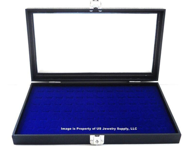 Key Lock Locking Glass Top Lid 72 Ring Blue Jewelry Display Box Storage Case