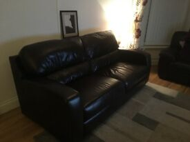 M&S Leather Sofa. Dark brown leather. 3 seater.