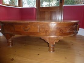 Coffee Table hand made from Indian Sheesham wood with 4 drawers with lovely iron handles