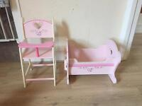 Wooden Dolly highchair and cot