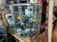 Retail Shop Glass Display Counter with Led strip light i side, lockable with keys