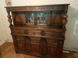 Old charm oak sideboard/display cabinet