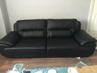 3 seater leather black couch