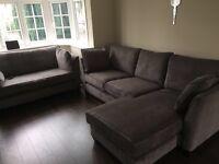 Made Wolseley large corner sofa, mid grey corduroy