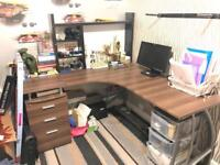 Office Desk L Shape Large Table With 3 Drawers