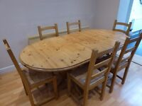 Solid Pine (Ducal ) extending dining table & six matching chairs in excellent condition