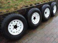 Set of four Land Rover steel wheels with BFG tyres