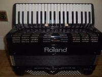 Roland FR-7X (Black) Piano Accordion + FBC7 pedal unit. In good working order