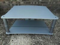 Alphason silver finished glass tv stand very good condition. £10. Lincoln