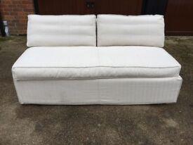 Sofa . com Armless Sofabed in Natural Herringbone Linen