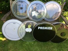 """Drums - 22"""" Bass Drum Heads - Mainly Remo - £10 to £25"""