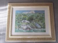 Painting of the Seychelles - STUNNING CARVED FRAME