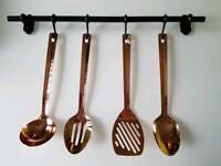 New 4 piece copper and black kitchen utensil set