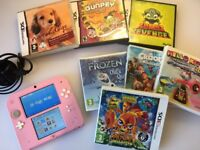Pink Nintendo 2DS Console + 7 Games + Charger - Ideal Christmas Present - Girls Toy