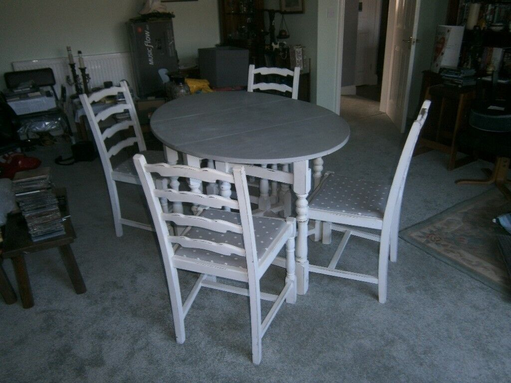 Shabby Chic Oval 50s Drop Leaf Dining Table With 4 Chairs Grey