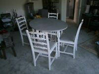 Shabby Chic Oval 50s Drop Leaf Dining Table With 4 Chairs Grey White Cool