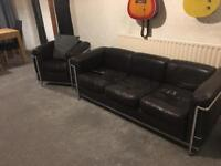 3 seater leather sofa and 2 leather armchairs
