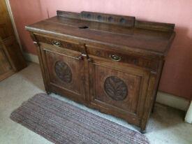 'Victorian' solid, dark oak sideboard.