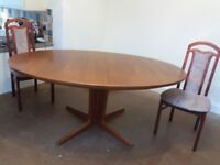 Teak oval extending table and if wanted 6 chairs good condition.