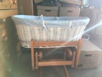 Blue obaby Moses basket brand new slept in once
