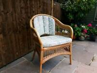 Cane Conservatory chairs (x4) with cushions